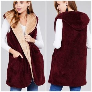 Jackets & Blazers - Soft cozy reversible teddy fur vest jacket